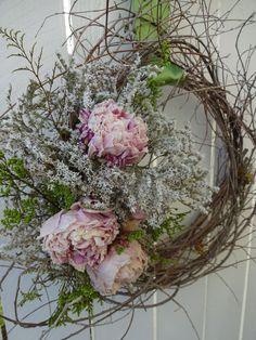 Twig Wreath Peony Wreath Romantic Wreath Wedding Wreath #Home #Decor Natural Wreath Dried Peonies Elegant Wreath by donnahubbard on Etsy