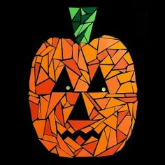 Print out the pumpkin pattern and let kids create a paper mosaic Jack o'Lantern to decorate the wall or door at Halloween.