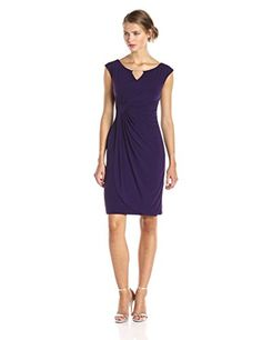 b8dc2644752 Connected Apparel Womens Cap Sleeve Side Gathered Dress with Keyhole  Eggplant 10 Casual Summer Dresses