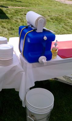 Improvised hand washing station --- clever!!!! Put in the sun and the water will be warm! Such a good idea for soccer moms so kids can have a snack after or during
