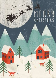Leading Illustration & Publishing Agency based in London, New York & Marbella. Merry Christmas, Christmas Town, Christmas Scenes, Christmas Images, Vintage Christmas, All Things Christmas, Christmas Card Photo Ideas With Dog, Christmas Photo Cards, Printable Christmas Cards