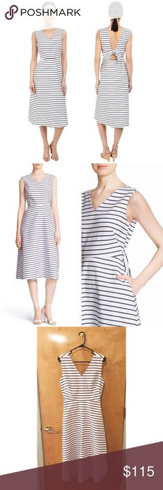 NWT Kate Spade Cotton Stripe Midi Dress Faint makeup stain on interior of collar. A gentle bend defines the waistline of this striped cotton-blend midi dress, while a signature bow punctuates the flirty open back. Part of kate spade new york's Broome Street collection of elevated basics, it's a frock that's destined for heavy wardrobe rotation. Hidden back-zip closure. V-neck. Sleeveless. Lined 86% cotton, 14% polyester. ✨ Feel free to ask any questions. No trades or outside transactions…