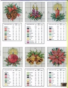 cross stitch christmas candle bells