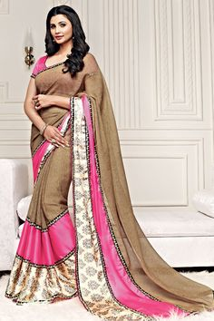 Brown Color Casual Printed Party Wear Sarees From Easy Sarees.
