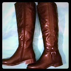 """Wanted """"Torino"""" high shaft boots size 8. Shaft has an embossed greek key design. Man-made material. Worn twice. Wanted Shoes"""