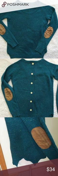 Lulu Fushi Sweater Lulu Fushi Size Medium Elbow Patches Speckled Blue Back Button Details lulu fushi Sweaters