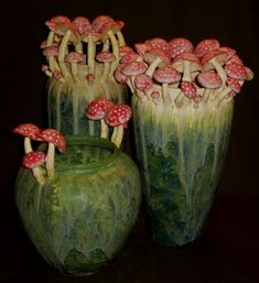 """Fairy Ring Vases"", freiwald art pottery, under flora & fauna Pottery Vase, Ceramic Pottery, Slab Pottery, Thrown Pottery, Ceramic Bowls, Cerámica Ideas, Fairy Ring, Mushroom Art, Pottery Studio"
