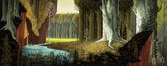 """Color & Light - Eyvind Earle - Background painting for """"Sleeping..."""