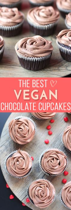 These are quite literally the BEST Vegan Chocolate Cupcakes ever! Decadent and r… These are quite literally the BEST Vegan Chocolate Cupcakes ever! Decadent and rich, they're so delicious you'd never be able to tell they're vegan! Nutella Cupcakes, Vegan Vanilla Cupcakes, Vegan Chocolate Cupcakes, Best Vegan Chocolate, Cocoa Chocolate, Healthy Cupcakes, Vegan Cupcake Recipes, Baking Recipes, Vegan Recipes