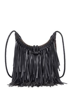 Black fringe crossbody bag with a braided strap and intricate stitching detail