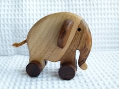Wooden pull toy eco friendly - LITTLE elephant ELLIE on Etsy, $14.00