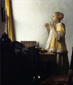 Johannes Vermeer, 'Vrouw met parelsnoer' ca. 1664 Staatliche Museen zu Berlin, Gemäldegalerie
