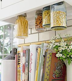 Your Weekend DIY Project: Hanging #Mason Jars for Storage From HGTV's Design Happens Blog (http://blog.hgtv.com/design/2013/05/17/your-weekend-diy-project/?soc=pinterest)