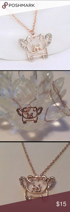 """Flying pig rose gold necklace Flying pig rose gold necklace. 16"""" rose gold chain with 2"""" extender. .5"""" long x 1"""" wide. Rhinestone wings. New Jewelry Necklaces"""