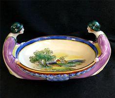 Art Deco Noritake Morimura HP Castle Scene Bowl Dish w 2 Women Forming Handles | eBay