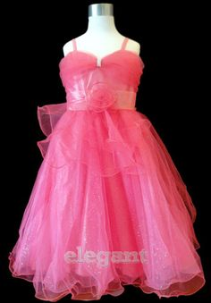 Hot Pink V Wedding Bridesmaid Flower Girls Pageant Dress Gown Size 8 Age Wedding Bridesmaid Flowers, Girls Bridesmaid Dresses, Red Bridesmaids, Girls Pageant Dresses, Girls Party Dress, Flower Girl Gown, Wedding Flower Girl Dresses, Princess Wedding Dresses, Flower Girls