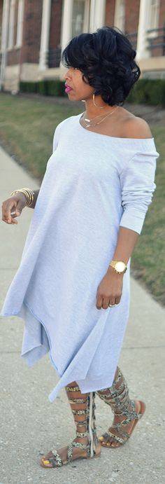 Spring Outfit Idea, Grey Dress, Spring 2015