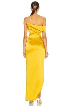 Elegant Dresses, Sexy Dresses, Evening Dresses, Prom Dresses, Yellow Gown, Drape Gowns, Plus Size Gowns, Korean Girl Fashion, Pleated Fabric