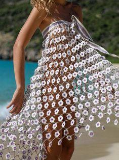 Madonna Lavender Crochet Maxi Skirt, Luxury Resortwear, Beach Cover Up Skirts Mode Crochet, Hand Crochet, Crochet Lace, Crochet Bikini, Crochet Flower, Diy Crafts Dress, Diy Dress, Dress Skirt, Mode Du Bikini