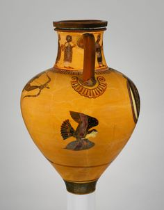 """Terracotta neck-amphora (jar)  Attributed to a painter of the Princeton Group Period: Archaic Date: ca. 540–530 B.C. Culture: Greek, Attic Medium: Terracotta; black-figure Dimensions: H: 13"""" Greatest diameter: 8 3/4"""" Classification: Vases Credit Line: The Bothmer Purchase Fund, 2010 Accession Number: 2010.147"""