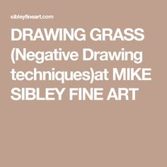 DRAWING GRASS (Negative Drawing techniques)at MIKE SIBLEY FINE ART