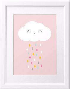 Digitaldruck - Fröhliche Wolke mit bunten Regentropfen - A4 - ein Designerstück…