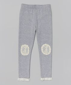 c6479ee6eb02d Love this Gray Lace Knee-Patch Leggings - Toddler & Girls by Paulinie on