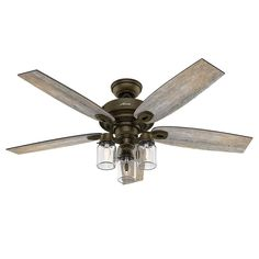 "Hunter Fan 52"" Regal Bronze Ceiling Fan includes Three-light Fitter with Clear Glass, 5 Blade (Certified Refurbished) - - Amazon.com"