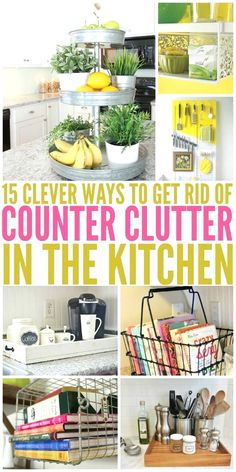 15 Clever Ways to Get Rid of Kitchen Counter Clutter #kitchenmakevoer #diykitchen Organizing Hacks, Clutter Organization, Kitchen Organization, Kitchen Storage, Organization Ideas, Storage Ideas, Dorm Storage, Fridge Storage, Wardrobe Organisation