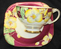Paragon Hand Painted Art Deco Wild Pansy Rose Tea Cup and Saucer | eBay
