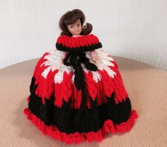 Vintage Toilet Paper Cover Doll | Ruffled Knitted Dress | Red, White, Black | 60's, 70's, 80's | Retro Bathroom !! by BrightEyedZombie on Etsy