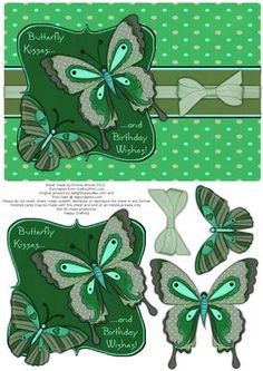 Butterfly Kisses Decoupage Card Front Green  on Craftsuprint designed by Emma Winnell - A bold and funky step by step card front with two beautiful butterflies. This is a perfect birthday design for anyone who loves butterflies. This design is made to fit an A5 card blank with room to mat and layer a thin border if you wish. - Now available for download!