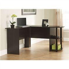 L-Shaped Corner Computer Office Desk in Dark Cherry Finish