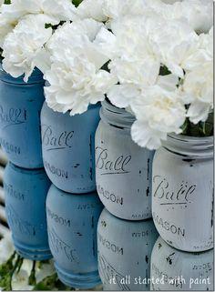 Ombre Blue Painted Mason Jars