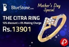 Bluestone is offering 10% #discount + 0% making Charge in THE CITRA #RING at Rs.13901. Total #Diamond Weight 0.160 Ct, Total No. Of Diamonds 25, 18Kt Yellow Gold.  http://www.paisebachaoindia.com/the-citra-ring-at-rs-13901-10-discount-0-making-charge-bluestone/