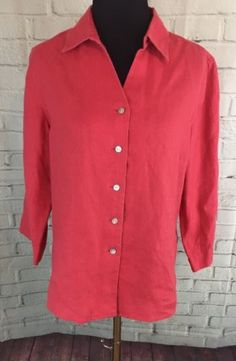 Orvis Shirt Red Pink S 6/8 100% Linen Button Up Blouse