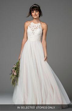 Esperance Lace & Net Halter Gown, Main, color, Ivory/Ivory