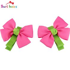 5 Pairs/lot Suri bows Candycolor Children Bowknot Cute Headwear For Baby Girls Satin Headpins Children Hair Accessories FS020