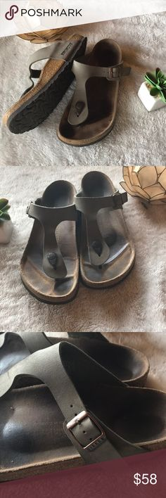 Birkenstock Gizeh Sandals Used but good condition! They Still have a lot of use!! color gray. Size 39 8 women. Leather. Made in Germany! Birkenstock Shoes Sandals
