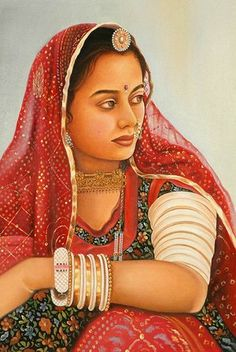 Gypsy: Woman ~ The Maiden One: The Indian Gypsy. Rajasthani Painting, Rajasthani Art, Indian Women Painting, Indian Art Paintings, Oil Paintings, Nature Paintings, India Painting, Painting Of Girl, Potrait Painting