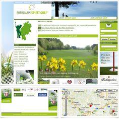 Internetseite Golfportal rhein-main-spielt-golf.de / Leistungen: Konzeption, Webdesign, Technische Umsetzung / Techniken: TYPO3, PHP, Javascript, mootools, XHTML, CSS, Geolocation