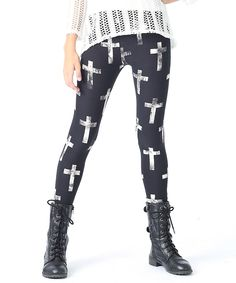 Look what I found on #zulily! Ivory & Black Cross Leggings by Rated G #zulilyfinds