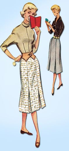 1950s Vintage McCalls Sewing Pattern 9392 FF Misses Skirt & Contour Belt Sz 26 W