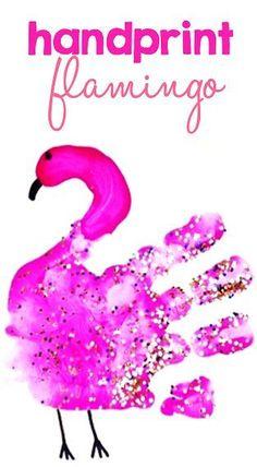 Easy Handprint Flamingo Craft for Kids // Manualidad de Flamengo con huella de mano