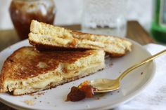 gruyere and fig jam grilled cheese with truffle salt