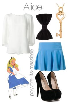 """""""Alice"""" by its-massieee ❤ liked on Polyvore featuring Disney, DKNY, Oscar de la Renta, Tiffany & Co., Forever 21, women's clothing, women, female, woman and misses"""