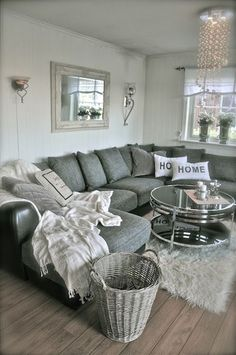 grey sofa living room ideas Tap the link now to see where the world's leading interior designers purchase their beautifully crafted, hand picked kitchen, bath and bar and prep faucets to outfit their unique designs. Cozy Living Rooms, New Living Room, Living Room Sofa, Apartment Living, Home And Living, Living Room Furniture, Living Room Decor, Modern Living, U Shaped Couch Living Room