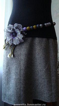 Gallery.ru / belt Felt Crafts Diy, Felted Wool Crafts, Felt Diy, Felt Necklace, Fabric Necklace, Fabric Jewelry, Felt Flowers, Fabric Flowers, Tshirt Garn