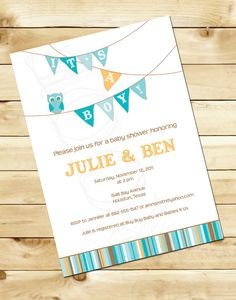 Little Owl baby shower invitation OR Little Bird