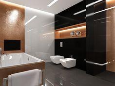 Projekt przestronnej łazienki z pełnym wyposażeniem